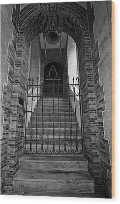 Stairs Beyond B-w Wood Print by Christopher Holmes