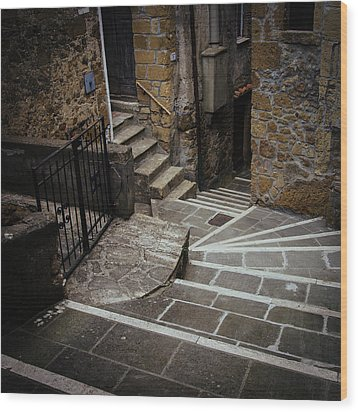 Stairs In Motion Wood Print by Cesare Bargiggia