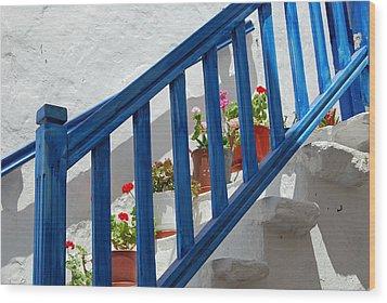Stairs In Mykonos Wood Print by Armand Hebert