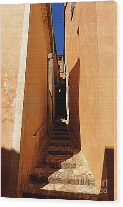 Wood Print featuring the photograph Stairs In Roussillon by Olivier Le Queinec