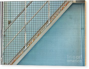 Wood Print featuring the photograph Stairs On Blue Wall by Stephen Mitchell