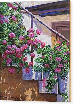 Stairway Floral Plein Air Wood Print by David Lloyd Glover