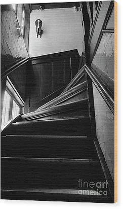 Wood Print featuring the photograph Stairway In Amsterdam Bw by RicardMN Photography