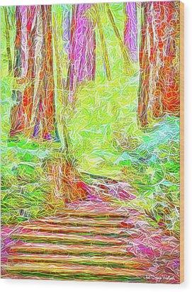 Wood Print featuring the digital art Stairway Through The Redwoods - Tamalpais California by Joel Bruce Wallach