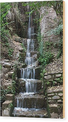 Stairway Waterfall Wood Print by Lorraine Devon Wilke