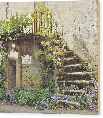 Stairway With Flowers Flavigny France Wood Print by Marilyn Dunlap