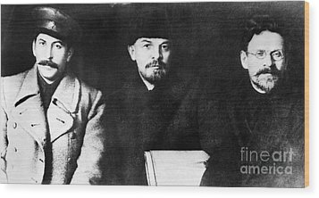 Stalin, Lenin & Trotsky Wood Print by Granger