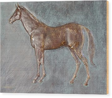 Stallion Wood Print by Deborah Dendler