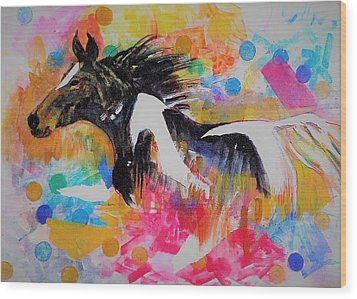Stallion In Abstract Wood Print by Khalid Saeed