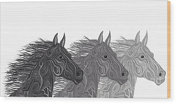 Wood Print featuring the drawing Stallions Shades by Nick Gustafson