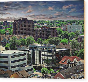 Stamford Cityscape Wood Print by Anthony Dezenzio