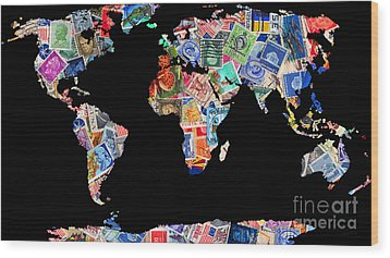 Stamps Of The World Map . V1 Wood Print by Wingsdomain Art and Photography