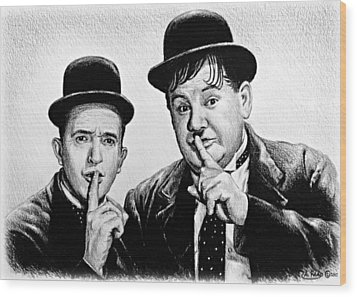 Stan And Ollie Wood Print by Andrew Read
