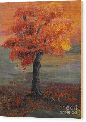 Stand Alone In Color - Autumn - Tree Wood Print by Jan Dappen