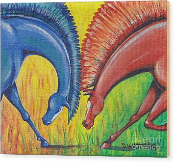 Stand-off Wood Print by Darlene Watters