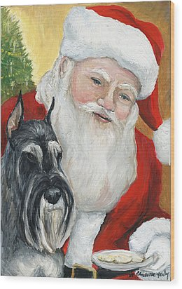 Standard Schnauzer And Santa Wood Print