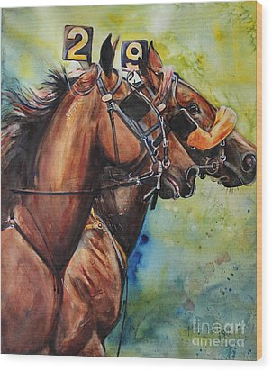 Standardbred Trotter Pacer Painting Wood Print by Maria's Watercolor