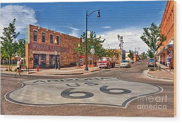 Standin On The Corner Route 66 Wood Print by John Kelly
