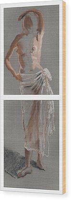 Standing Figure-diptych Wood Print by Gideon Cohn