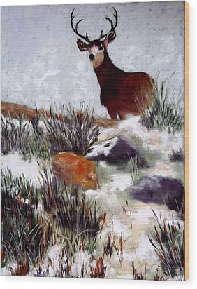 Wood Print featuring the painting Standing Guard by Nancy Jolley