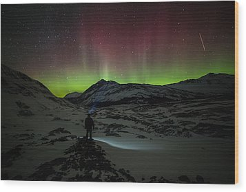 Standing In Awe Of The Auroras Wood Print by Craig Brown