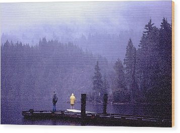 Wood Print featuring the photograph Standing In The Mist 2 Wc by Lyle Crump