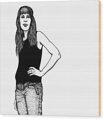 Standing Lady Wood Print by Karl Addison