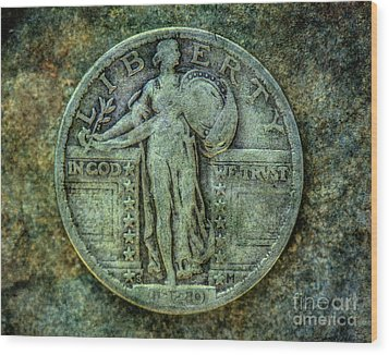 Wood Print featuring the digital art Standing Libery Quarter Obverse by Randy Steele