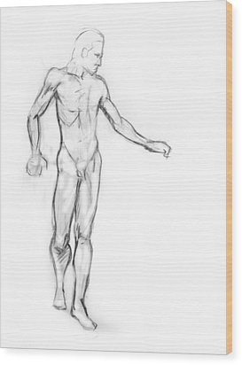 Standing Male Nude Wood Print by Adam Long