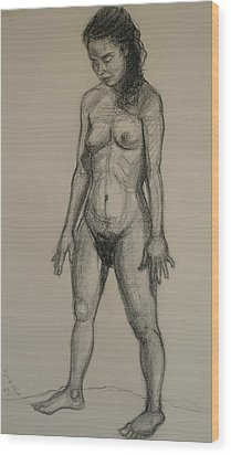 Standing Nude 5 Wood Print by Donelli  DiMaria