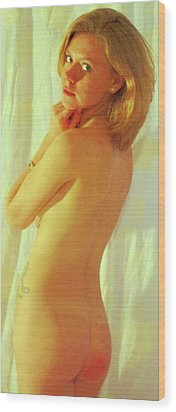 Standing Nude Gold Wood Print