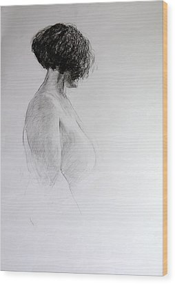 Wood Print featuring the drawing Standing Nude by Harry Robertson