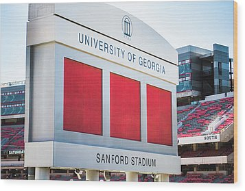 Wood Print featuring the photograph Standing Tall Over Sanford Stadium  by Parker Cunningham