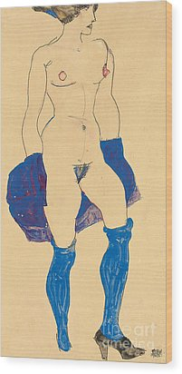 Standing Woman With Shoes And Stockings Wood Print by Egon Schiele