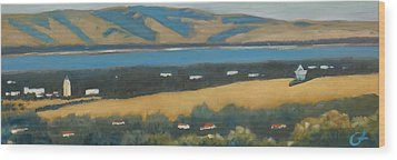 Wood Print featuring the painting Stanford By The Bay by Gary Coleman