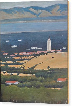 Wood Print featuring the painting Stanford From Hills by Gary Coleman