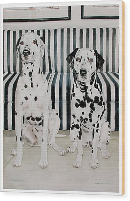 Stanley And Stelle Wood Print by Eileen Hale