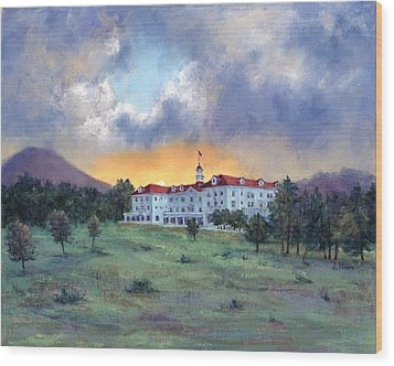 Stanley Hotel Sunset Wood Print