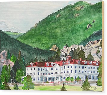 Wood Print featuring the painting Stanley Hotel by Tom Riggs