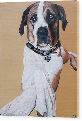 Wood Print featuring the painting Stanley by Tom Roderick