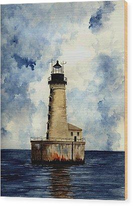 Stannard Rock Lighthouse Wood Print by Michael Vigliotti