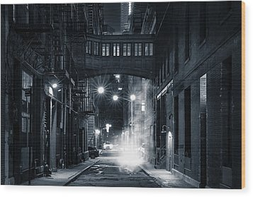 Staple Street Skybridge By Night Wood Print
