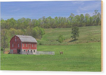 Wood Print featuring the digital art Star And Moon Barn by Sharon Batdorf