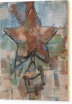Wood Print featuring the mixed media Star Bell by Carrie Joy Byrnes