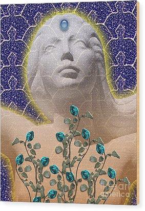 Star Goddess Wood Print by Keith Dillon