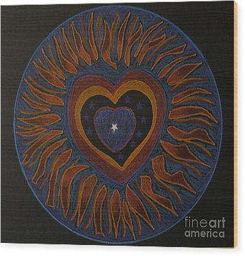Wood Print featuring the drawing Star In My Heart by Patricia Januszkiewicz