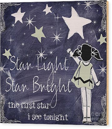 Star Light Star Bright Chalk Board Nursery Rhyme Wood Print by Mindy Sommers
