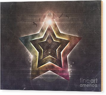 Wood Print featuring the digital art Star Lights by Phil Perkins