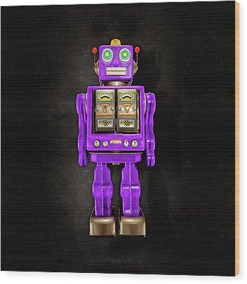 Star Strider Robot Purple On Black Wood Print by YoPedro