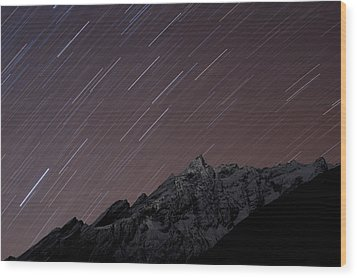 Star Trails Above Himal Chuli Created Wood Print by Alex Treadway